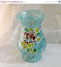 Lucky Sale Vintage Beautiful Turquoise Glass Mosaic by RitasGarden
