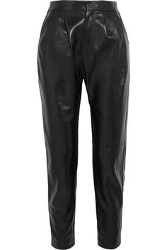 """Each look on Saint Laurent's Fall '16 runway was preceded by a numerical announcement - a tradition honored at every show of Monsieur Saint Laurent between 1977 and 2002. These high-rise pants are part of look """"numéro trente-et-un."""" Crafted from supple leather, they have a tapered silhouette that finishes just above the narrowest part of the ankle. Wear yours belted and with heels."""