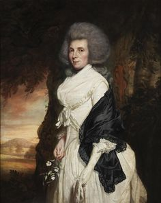 Thomas Beach, Portrait of Anne Henrietta Penruddocke, three-quarter-length, in a white silk dress, standing before a landscape, 1787