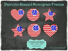Patriotic Shaped Monogram Frames in .SVG .EPS by TheSVGFontStore