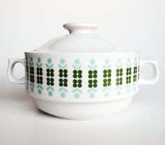 Retro Soup Tureen / Blue & Green Pattern / 70's Czech Porcelain by TheCuriousCaseShop