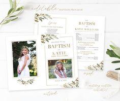 Lds Baptism Program, Baptism Announcement, Baptism Pictures, Baptism Invitations Girl, Boy Baptism, Program Template, Cute Panda, Cover Pages, Text Color
