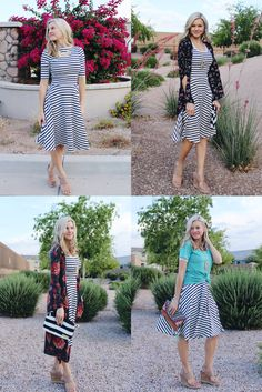 One LuLaRoe Nicole dress, styled four ways! (Alone, with a Bianka kimono, with a Sarah cardigan, and with a classic tee. Modest Outfits, Modest Fashion, Modest Clothing, Cute Outfits, Simple Clothing, Cool Style, My Style, Lula Roe Outfits, Style Inspiration