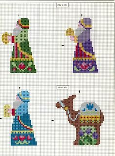 3 wise men and a camel - great for a nativity scene (no color chart) Xmas Cross Stitch, Counted Cross Stitch Patterns, Cross Stitch Charts, Cross Stitch Designs, Cross Stitching, Cross Stitch Embroidery, Christmas Charts, Christmas Afghan, Christmas Cross