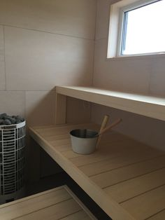 White sauna, plywood.