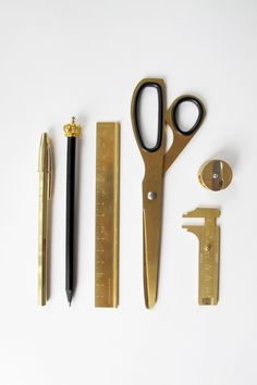 The Gold-Brass Review. Yes, I've added to my tiny collection of scissors, ruler and sharpener. Who would have thought Bic do gold pens?!