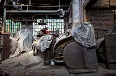 Pianos in storage at an abandoned bronze foundry - Philadelphia
