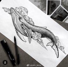 Pencil Art Drawings, Art Drawings Sketches, Animal Drawings, Tattoo Drawings, Body Art Tattoos, Whale Drawing, Cloud Tattoo, Whale Tattoos, Pen Art