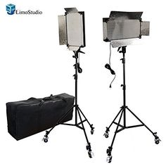 LimoStudio 2 Pcs Dimmable 500 LED Photo Video light Panel LED lighting Kit with Caster Wheels x 500 LEDs Photo Video Studio Lighting Panel x Tall Studio Quality High Light Stand x Photography Heavy Duty Convenient Carry Case x Caster Wheels x Carry Bag Video Lighting, Photo Lighting, Light Photography, Photography Photos, Led Light Kits, Led Panel Light, Video Studio, Photo Accessories, Camera Accessories