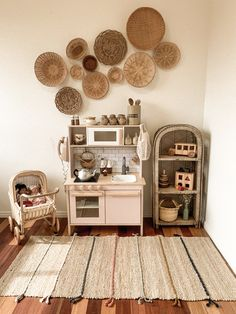 My kids vintage boho toyroom featuring the ikea duktig kids play kitchen I hacke… - Babyzimmer Ikea Play Kitchen, Montessori Playroom, Corner House, Toy Rooms, Big Girl Rooms, Kid Spaces, My New Room, Kids Playing, Room Inspiration
