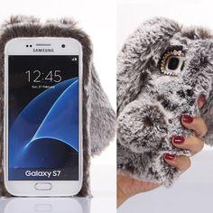 Rabbit Fur + Soft Silicon Phone Case Cover For Samsung Galaxy S7 G930 5.1inch/S7 Edge G935A 5.5inch Glitter Diamond Cover Shell