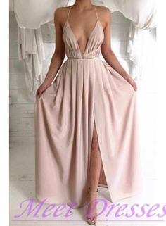 2016 New Fashion Blush Pink Split Prom Dresses With Spaghetti Straps Backless Prom Dress Evening Formal Gowns