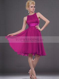 Round Neck Knee Length Chiffon Bridesmaid Dress with Belt