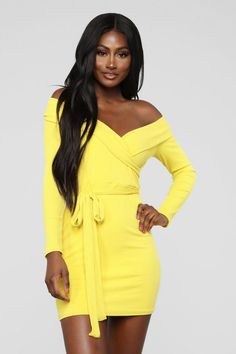 You Bring Me Sunshine Sweater Mini Dress - Yellow Yellow Dress Summer, Yellow Gown, Sexy Outfits, Summer Outfits, Summer Dresses, Mustard Dressing, New Arrival Dress, Online Dress Shopping, Ladies Dress Design