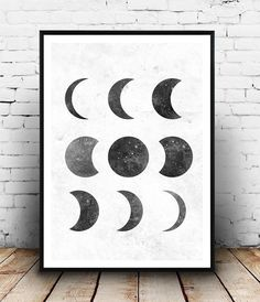 moon phase print, black and white, Lunar phases art, elegant art, Home decor, astrology print, moon poster, watercolor print, geometric art,