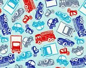 BEEP BEEP, Cotton Interlock Knit Fabric, by the fat quarter, fq