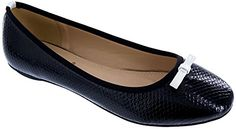 MACHI Womens NFBOWI3 Black PU Snake Ballerina Flat with Thin Bow 85 * Be sure to check out this awesome product.