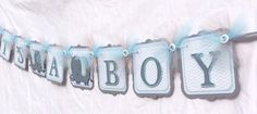 Grey and blue elephant / its a boy / baby by NancysBannerBoutique