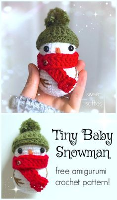 Teeny Tiny Amigurumi - Leigh Garchow - Teeny Tiny Amigurumi Free pattern for this Crocheted Tiny Baby Snowman! Isn't he adorable? Love this sweet little snowman pattern! Crochet Christmas Decorations, Christmas Crochet Patterns, Holiday Crochet, Christmas Knitting, Crochet Gifts, Easy Crochet, Free Crochet, Kids Crochet, Crochet Snowman