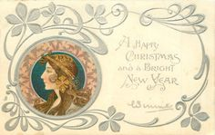 A HAPPY CHRISTMAS AND A BRIGHT NEW YEAR  head lower left, brown & pink decorations round head, head piece with dangling ornament. she faces & looks left
