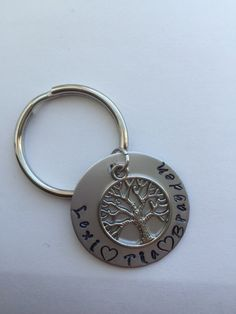 Tree of Life keychain.  Hand stamped family tree.  Mother's keepsake.  Perfect gift for mom, dad and grandparents.  lineage keychain to love by Lexiandfriends on Etsy
