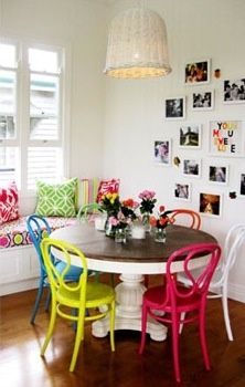 Round dinning table with colorful chairs
