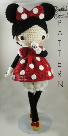 ATTENTION - Keep in mind that this is a crochet pattern in a PDF. This is NOT the finished product.  Minnie is approximately 15 inches tall. Also, please keep in mind that this doll cannot stand up on its own.  This is a non-refundable purchase. Once the payment has been confirmed you will be allowed to download the pattern in a PDF. The language in the pattern is in English and Spanish only. The pattern includes all of the yarns colors I used for the doll, however, you are free to…