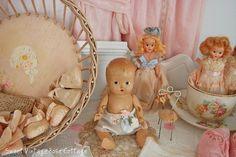 A sweet vignette in my sewing room~ by Sweet Vintage Rose Cottage, via Flickr