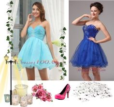 """Beading A-Line Sweetheart Organza Mini-length Aque Blue Prom Dress"" by prettydressesforyou on Polyvore"