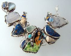 Mermaid Art Bracelet with Fish, Rough Stones and Fossil Shells