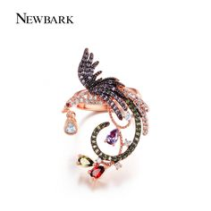NEWBARK Unique Phoenix Shape Multicolor And Multishaped Cut Cubic Zirconia Cocktail Ring Round Teardrop Jewelry Brincos