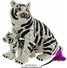 Trinket Box: White Detachable Tiger With CubTrinket Box