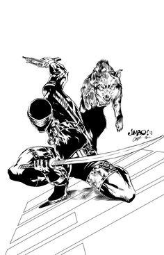 Joe - Snake Eyes & Timber by Jimbo Salgado, inks by Jorge Copo Snake Eyes Gi Joe, Shadow Drawing, Animated Cartoons, 80 Cartoons, Storm Shadow, Bee Sting, Marvel Wallpaper, Image Comics, Dope Art