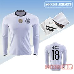 c456fe50f3e Latest Best Germany White 2016 2017 Home Long Sleeve Soccer Jersey With Kroos  18 Printing