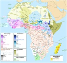 Map of African Languages - including families and subfamilies.