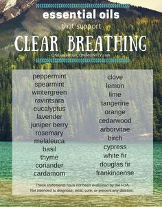 list of essential oils that support clear breathing-- also includes 25+ essential oil diffuser blends for clear breathing