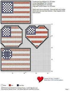 Cross Stitch American Flag Magnets - Could be used for Perler Beads too! Plastic Canvas Coasters, Plastic Canvas Ornaments, Plastic Canvas Tissue Boxes, Plastic Canvas Christmas, Plastic Canvas Crafts, Plastic Canvas Patterns, Beaded Cross Stitch, Cross Stitch Embroidery, Cross Stitch Patterns