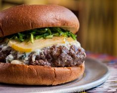 Specialty Burgers Recipes | Rewster's Specialty Burger dipped in a wine demi glaze, gorgonzola ...