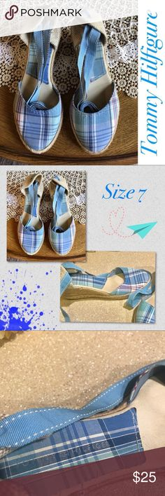 Tommy Hilfiger - Espadrilles - Blue plaid 💋 NWOT  A great, way to kick up some fun,with our Spring fever!!! 🌹 Tommy Hilfiger Shoes Espadrilles