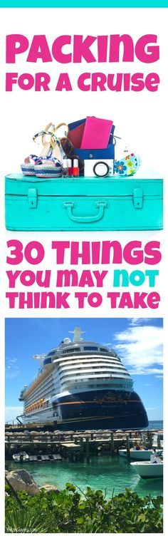 Packing for a Cruise: 30 Things You May Not Think to Take - Whether you're a first time or seasoned cruiser you need to read this list before taking your next cruise vacation! Packing for a Cruise Packing List For Cruise, Cruise Travel, Cruise Vacation, Vacation Trips, Packing Lists, Cruise Port, Vacation Deals, Vacation Travel, Beach Travel