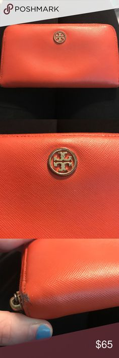 •Tory Burch• Orange Zip Around Wallet In good condition! Just has some wear on the corners as shown, and a little scratching on the logo. Tory Burch Bags Wallets