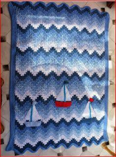 Eu que Fiz - Vovó Baisa: Manta de bebê em crochê - barquinhos no mar