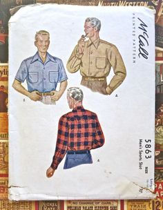 McCall 5863 - Vintage 1940s Mens Shirt Pattern on Etsy, $7.50