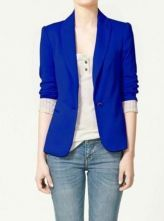Blue Long Sleeve Striped Inside One Button Silm Blazer US$31.76