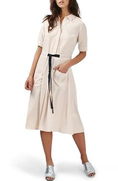 Topshop Contrast Grosgrain Tie Midi Shirtdress available at #Nordstrom