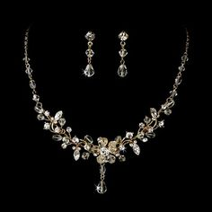 Swarovski Crystal Gold Plated Necklace and Earring Jewelry Set