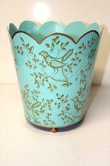 Calling Birds Teal & Latte Decorative Wastebasket
