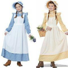 Little House Frontier Holly Hobbie Pioneer Bonnet Prairie Girl Costume Pioneer Girl Costume, Pioneer Dress, Girls Blue Dress, Girls Dresses, Pioneer Bonnet, Pioneer Clothing, Western Dresses, Western Wear, Apron Dress