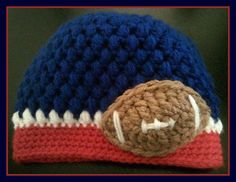 NY Giants Football Embellishment Crochet Hat - $12.00.