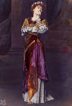 Victorian actress, Ellen Terry, as Imogen in Cymbeline wearing the costume designed by the painter Laurence Alma-Tadema,